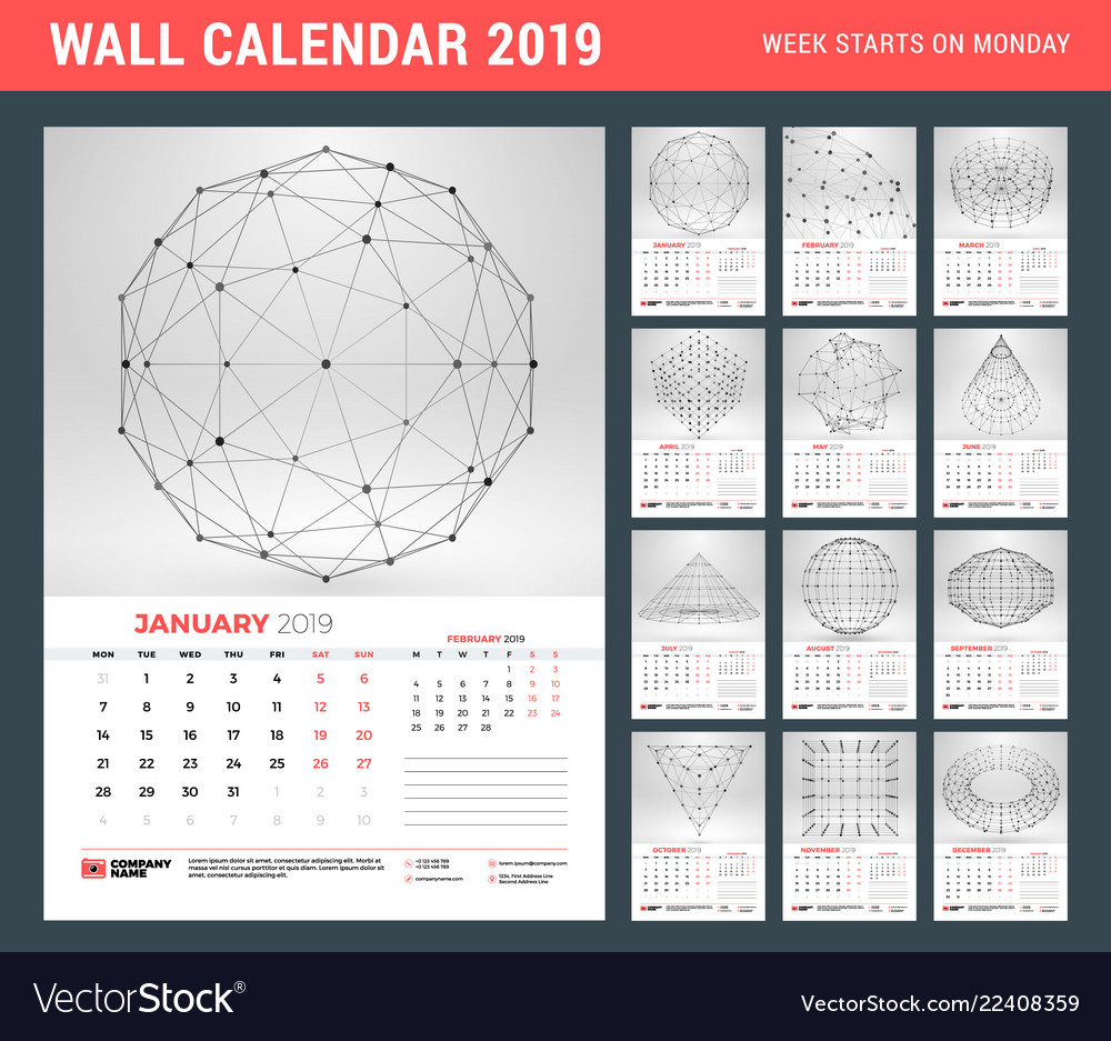 Wall calendar template for 2019 year with