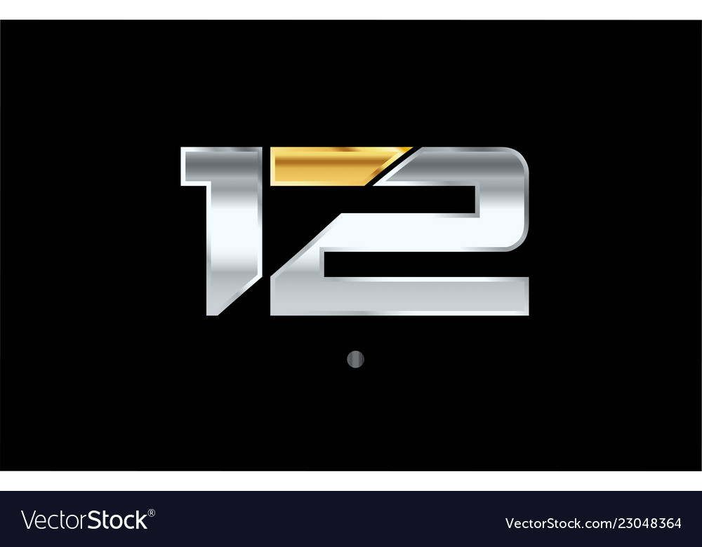 12 number silver gold logo icon design