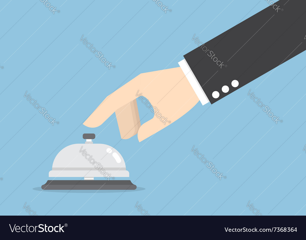 Businessman hand ringing in service bell vector image