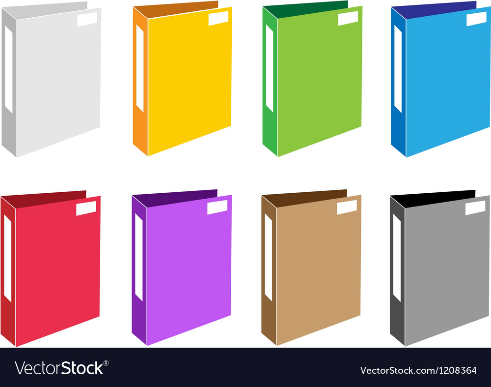 Colorful Set of Office Folder Icons vector image