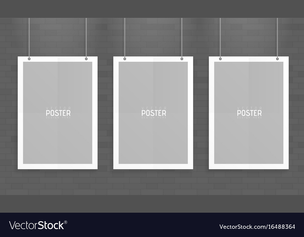 Empty three white a4 sized paper mockup hanging