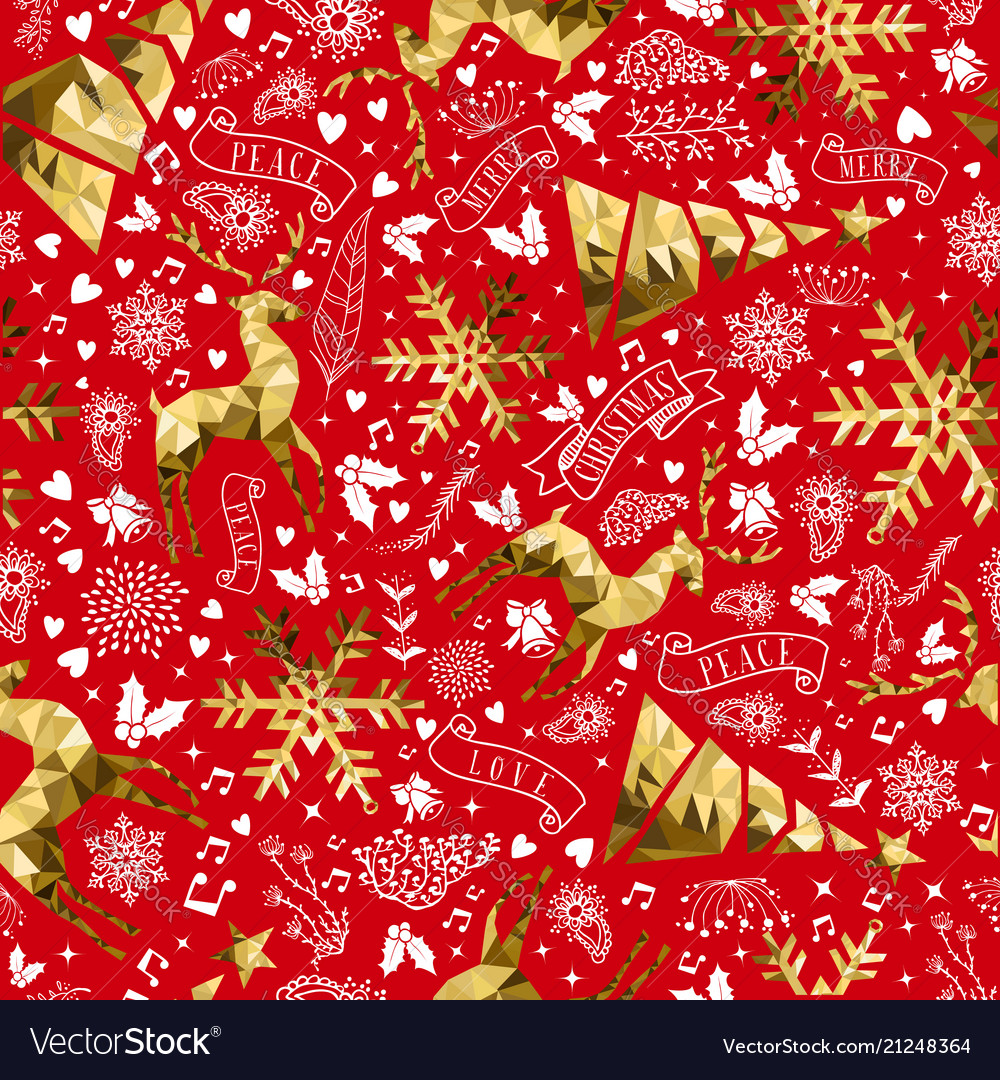 Gold and red reindeer christmas seamless pattern