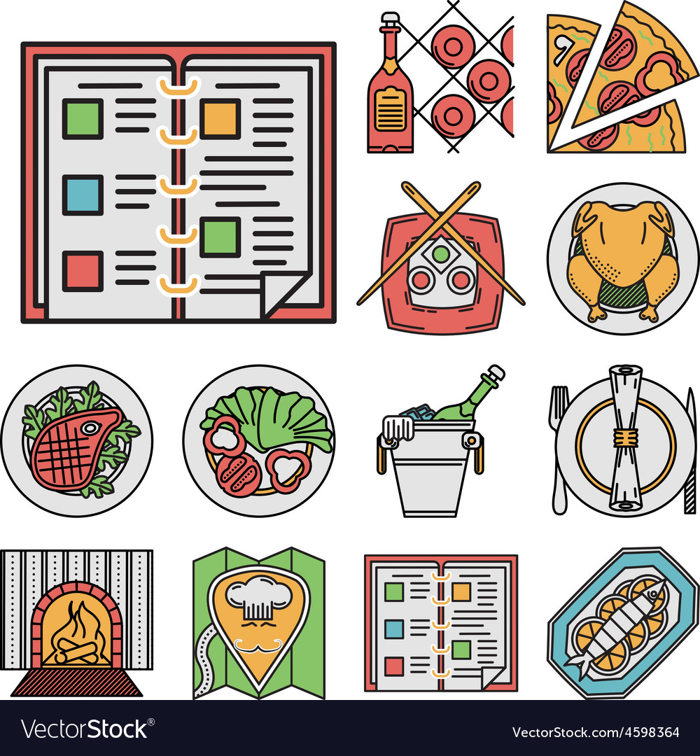 Restaurant flat color icons