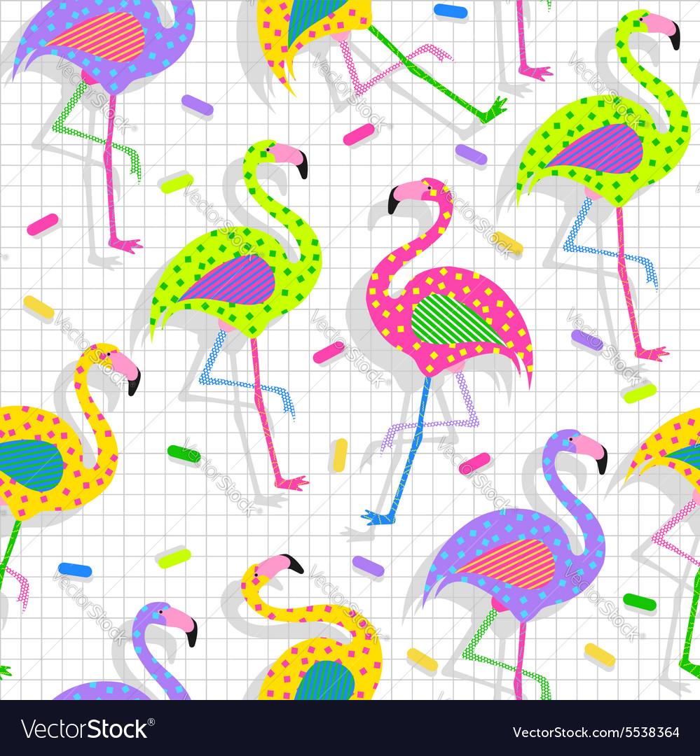 Retro 80s flamingo pattern background vector image
