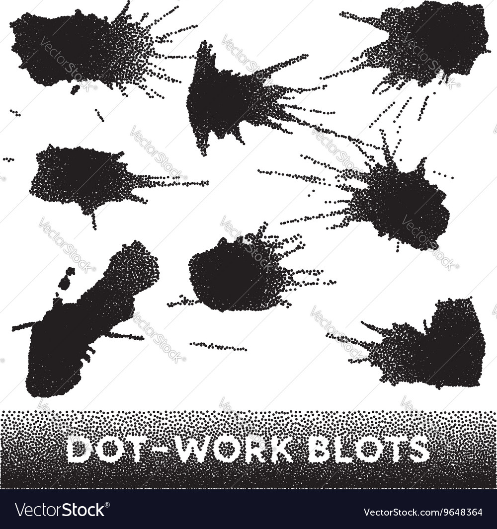 Set of black ink dotwork blots