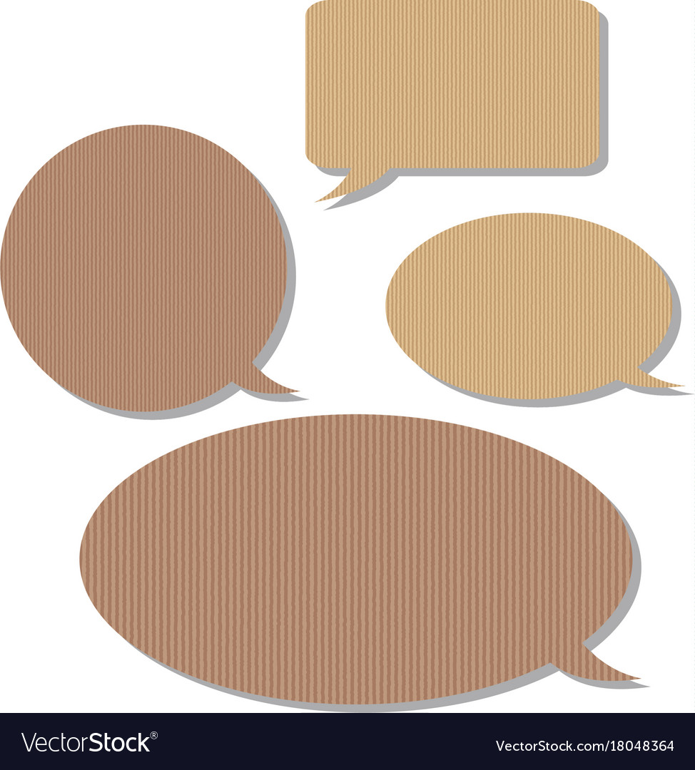 Speech Bubble Templates With Cardboard Texture Vector Image