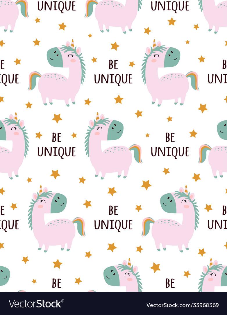 Funny unicorn pattern isolated on white background