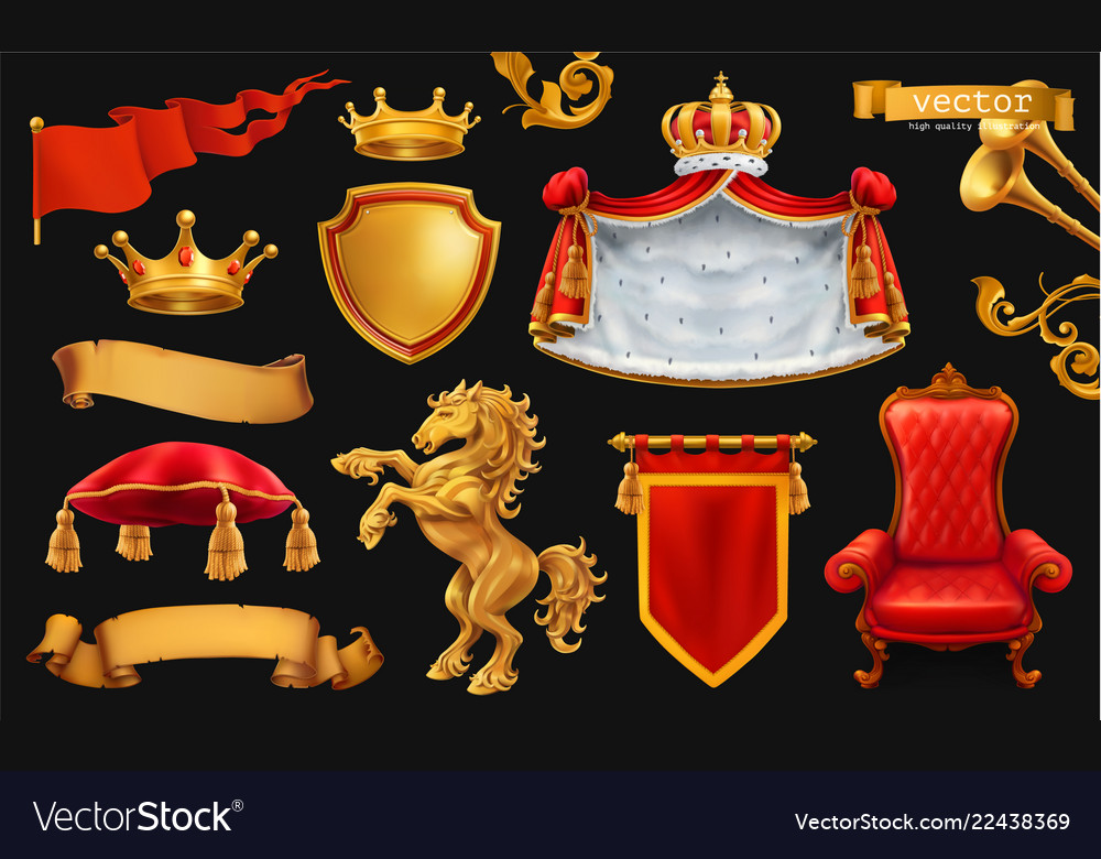Gold crown of the king royal chair mantle pillow