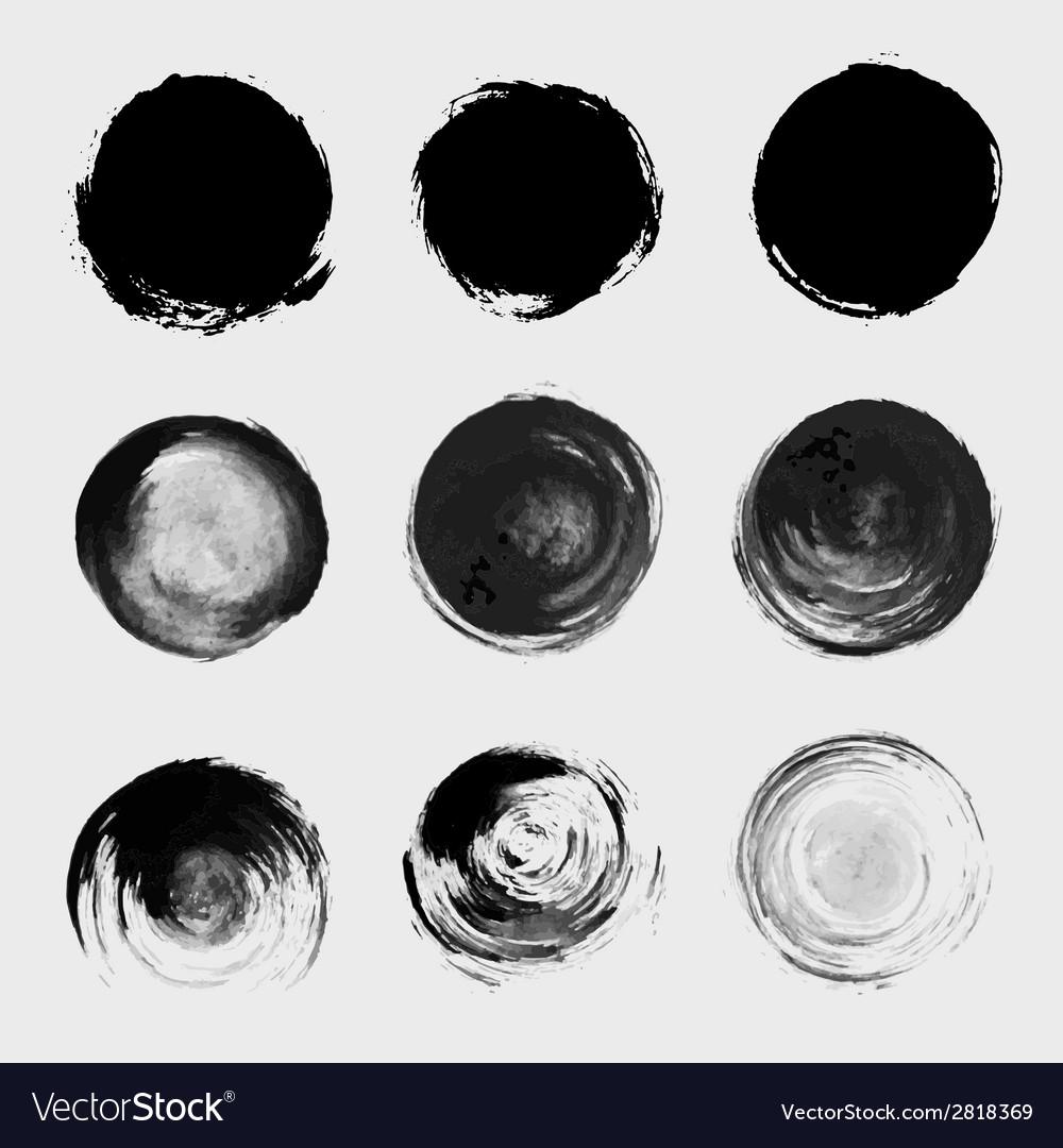 Grunge paint circle element set Brush smear stain
