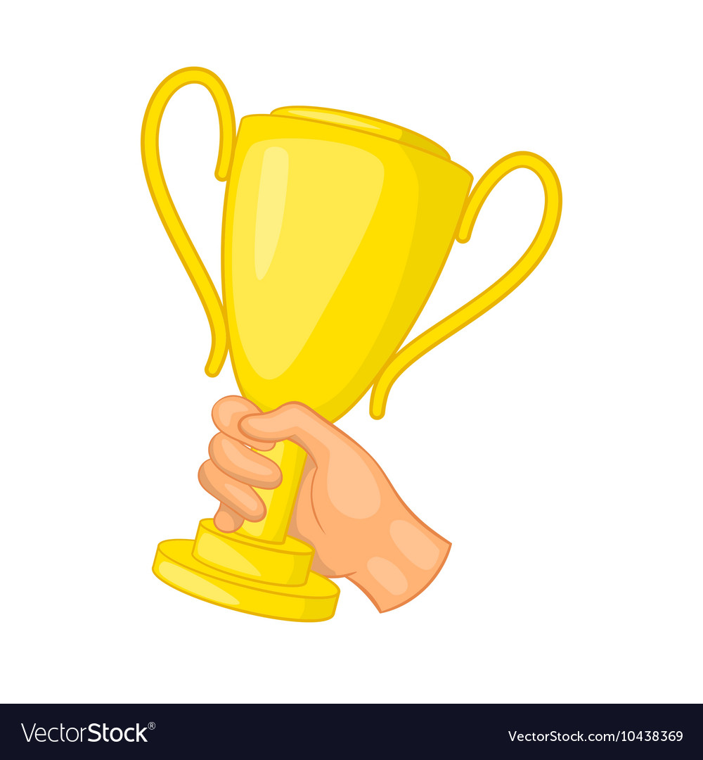 Hand holding gold trophy cup icon cartoon style