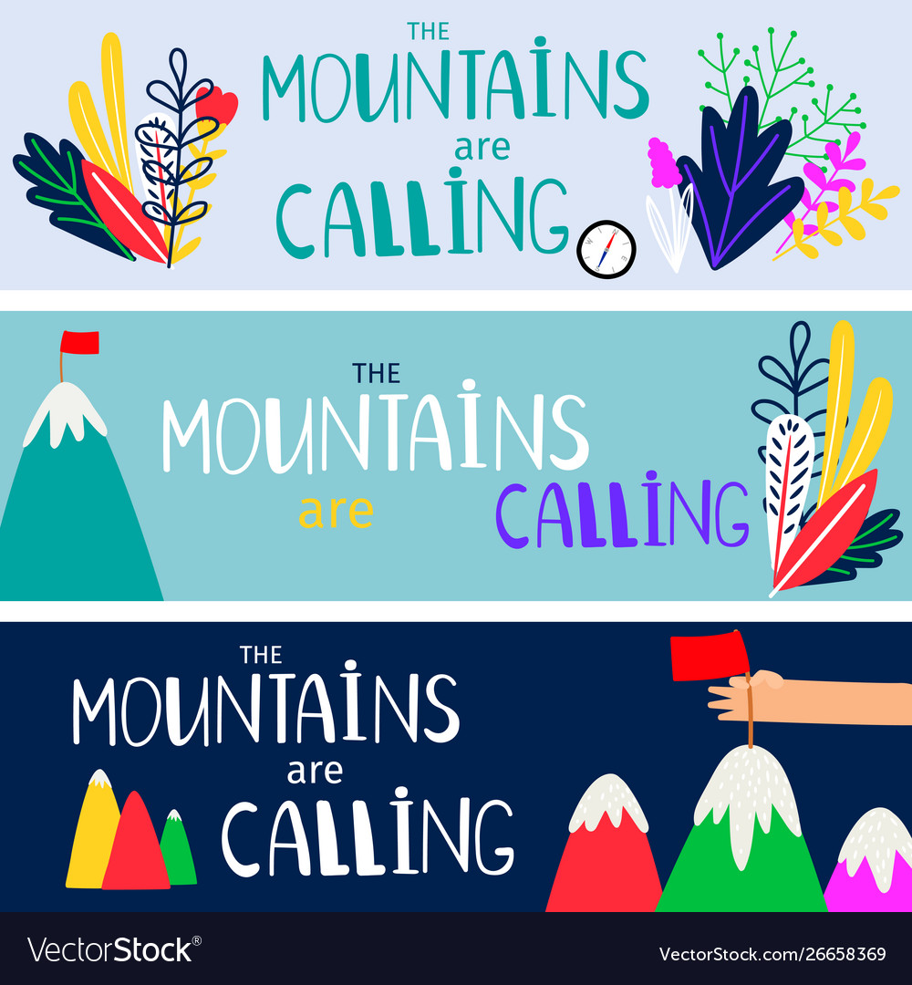 Mountains are calling banners set template