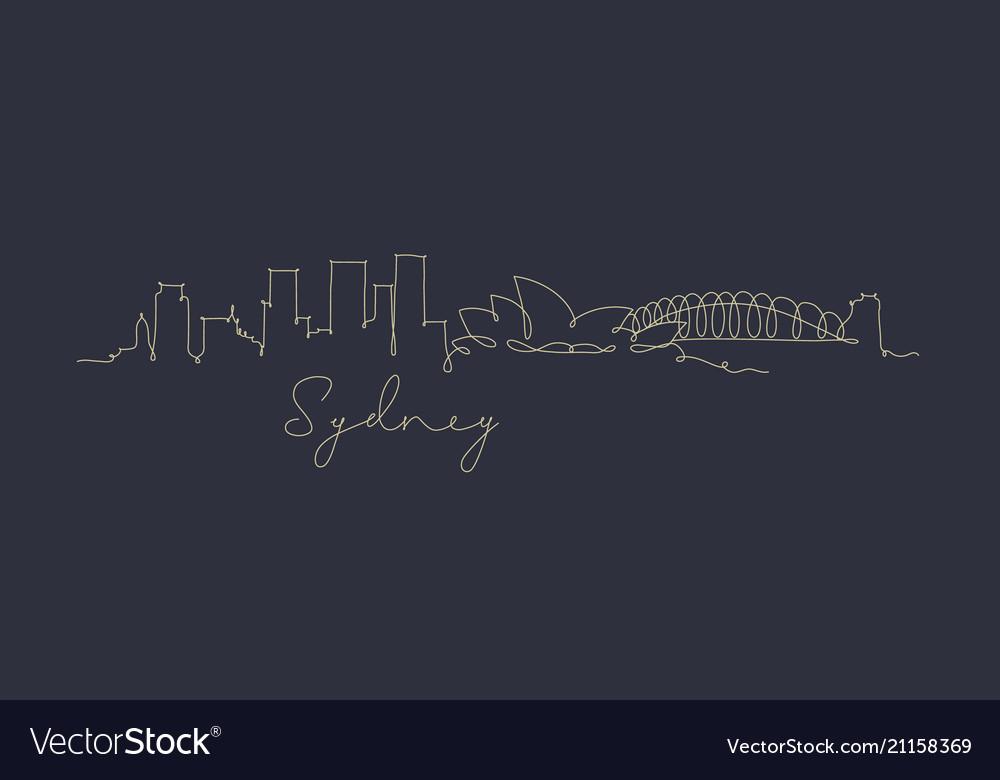 Pen line silhouette sydney dark blue
