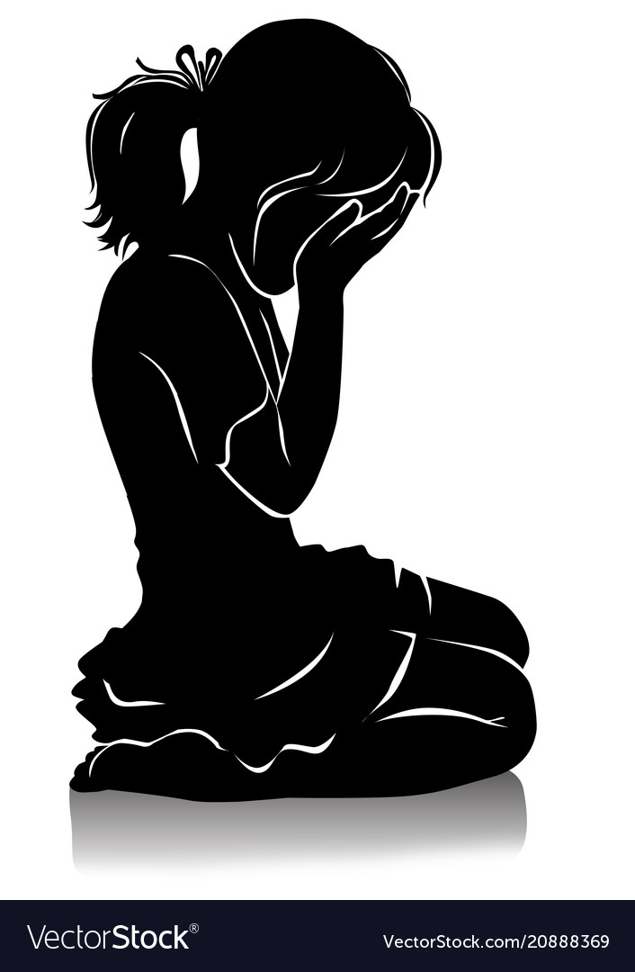 Silhouette of little girl crying