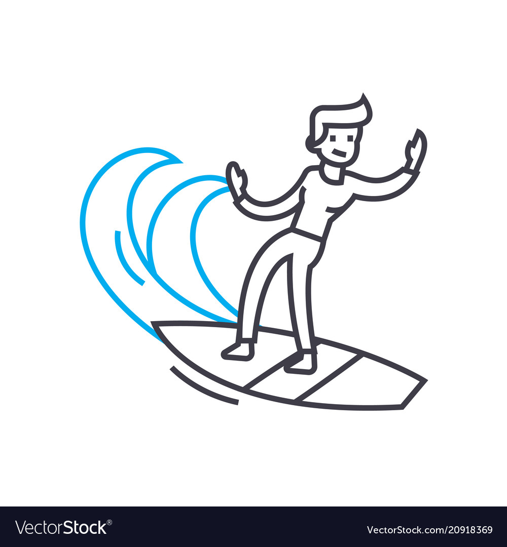 Surfing linear icon concept surfing line