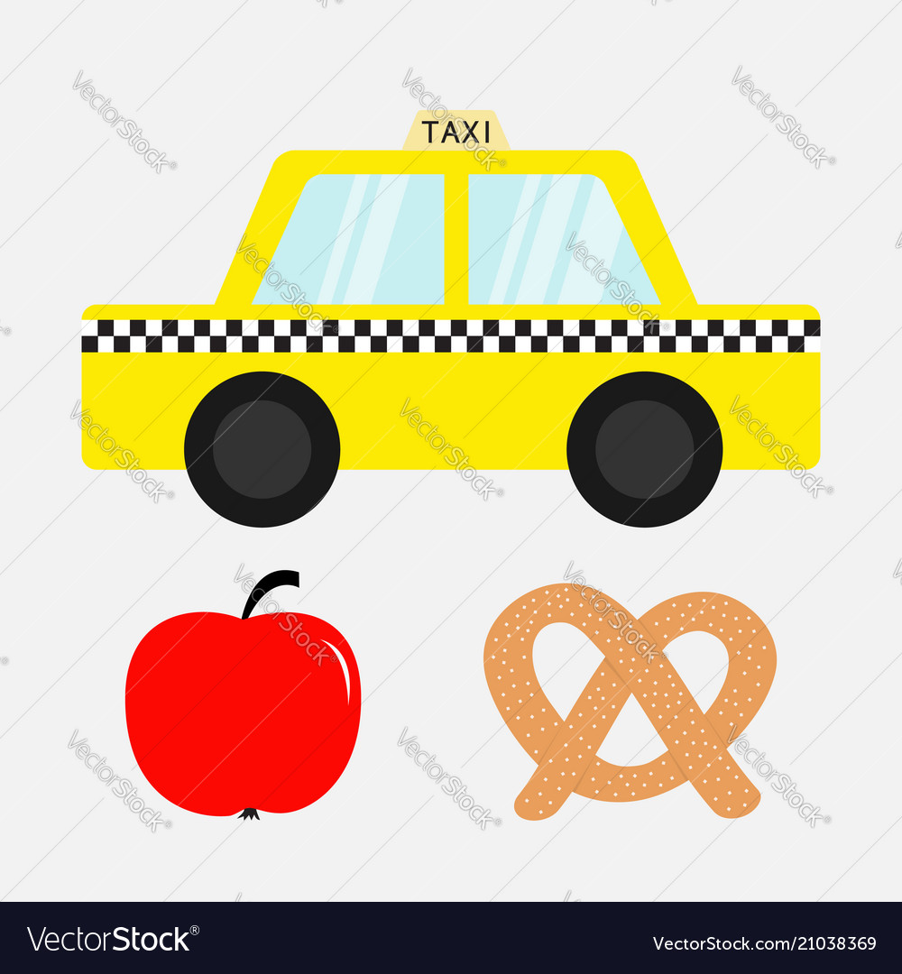 Taxi car cab icon soft pretzel bakery red apple