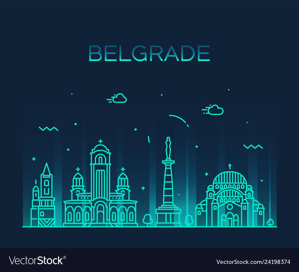 Belgrade serbia skyline city linear style
