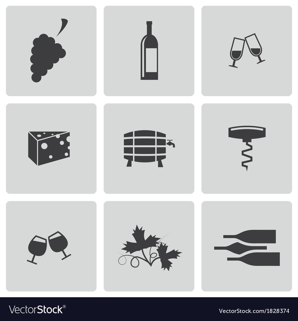 Black wine icons set
