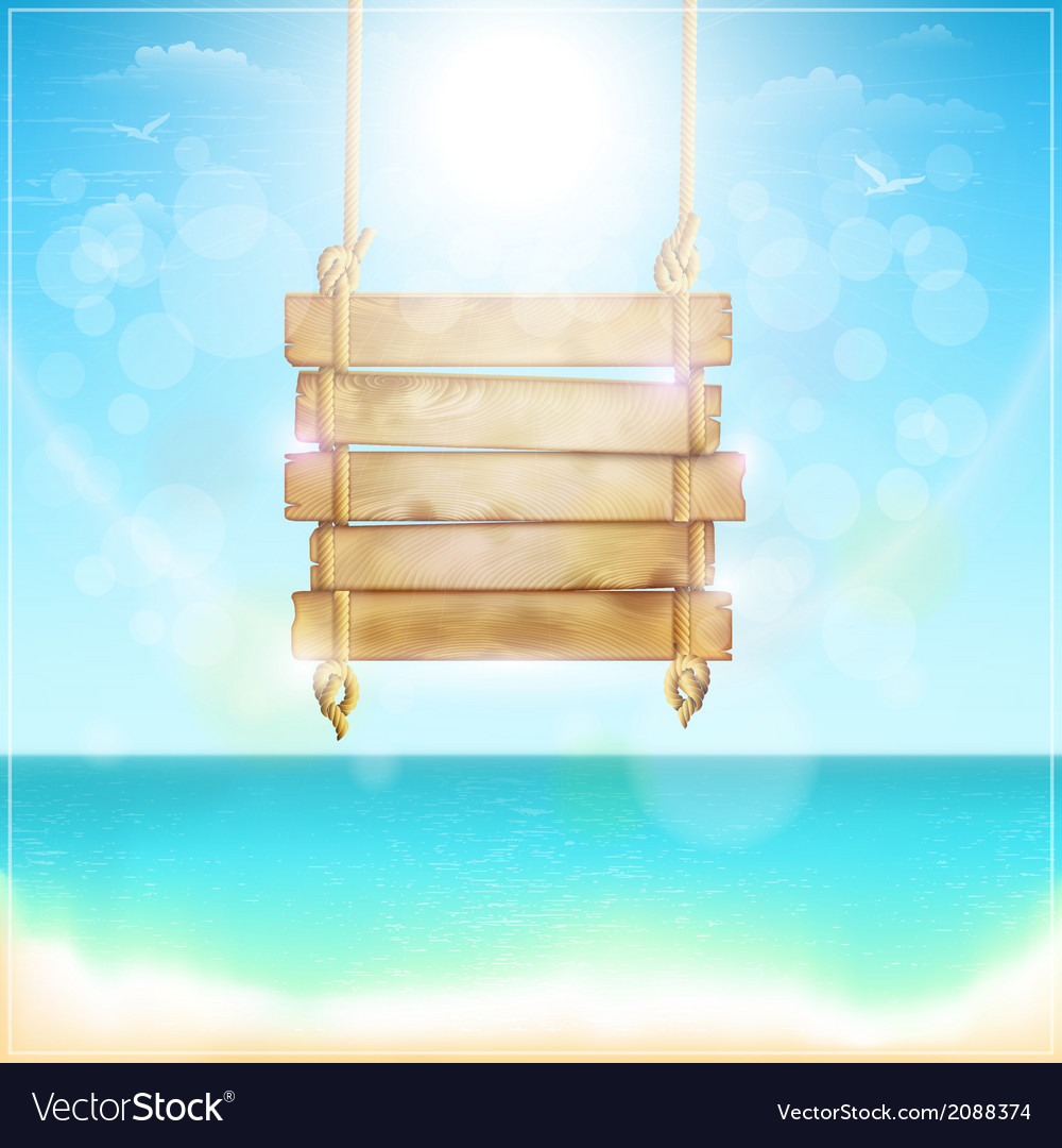 Blank Wooden Sign On A Beach Royalty Free Vector Image