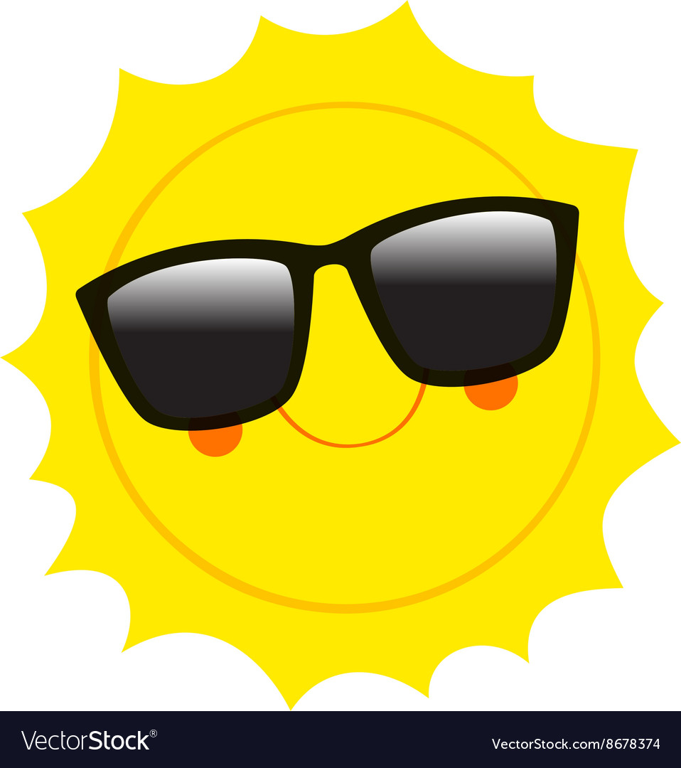 Character Sun in sunglasses and happy smile vector image