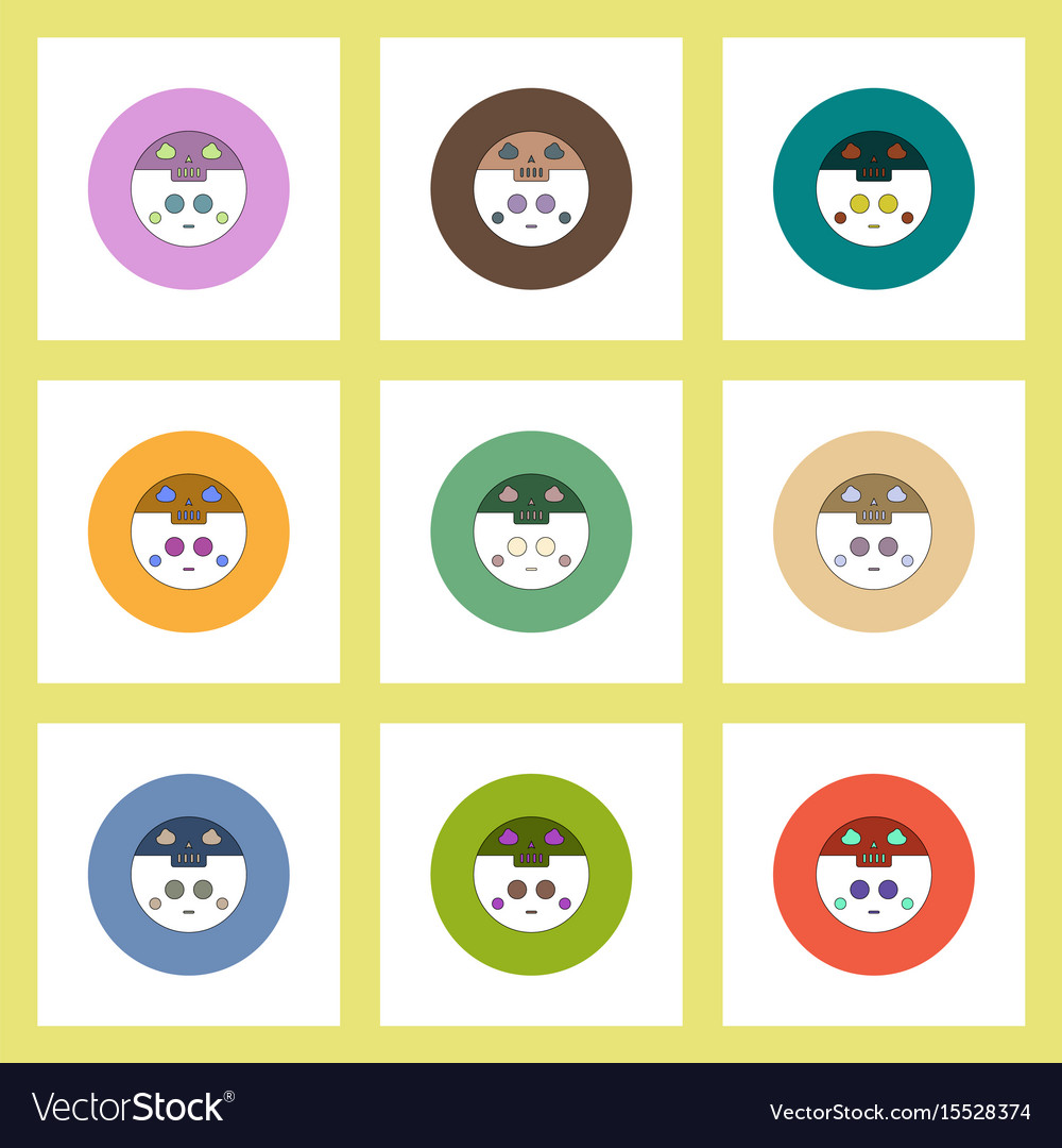 Flat icons halloween set of ghost and moon concept