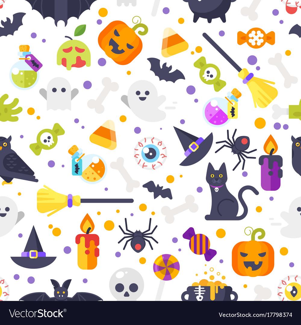 Flat style halloween pattern vector image