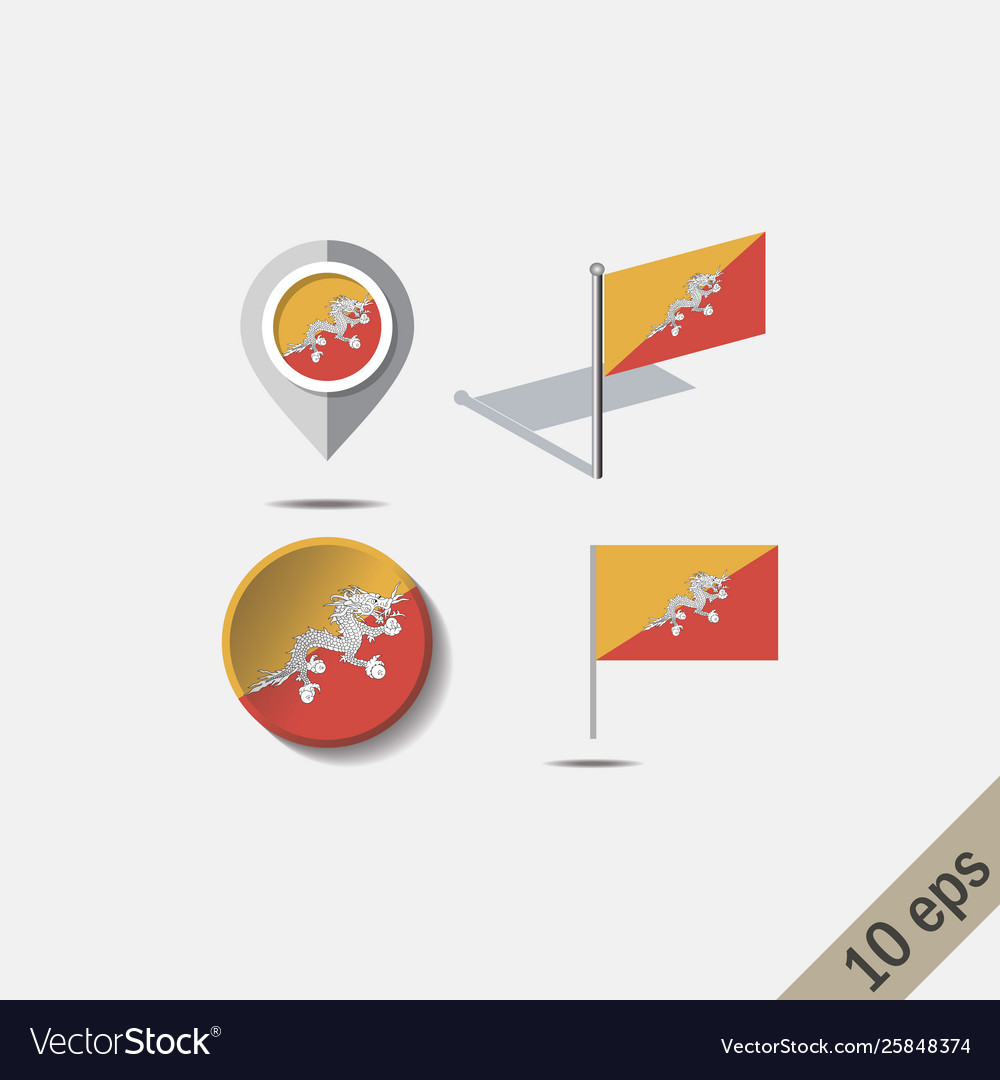 Map pins with flag bhutan vector image