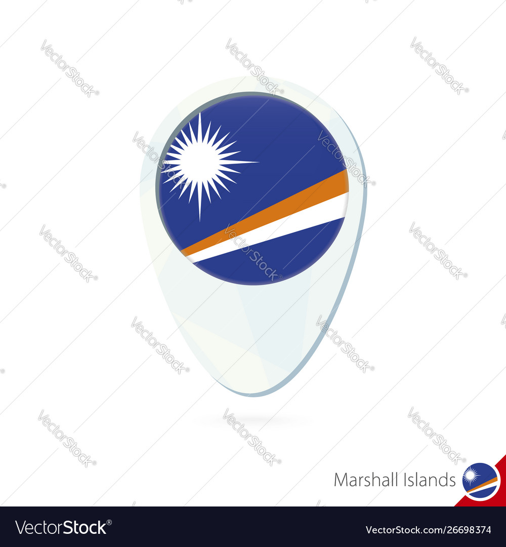Marshall islands flag location map pin icon on vector image