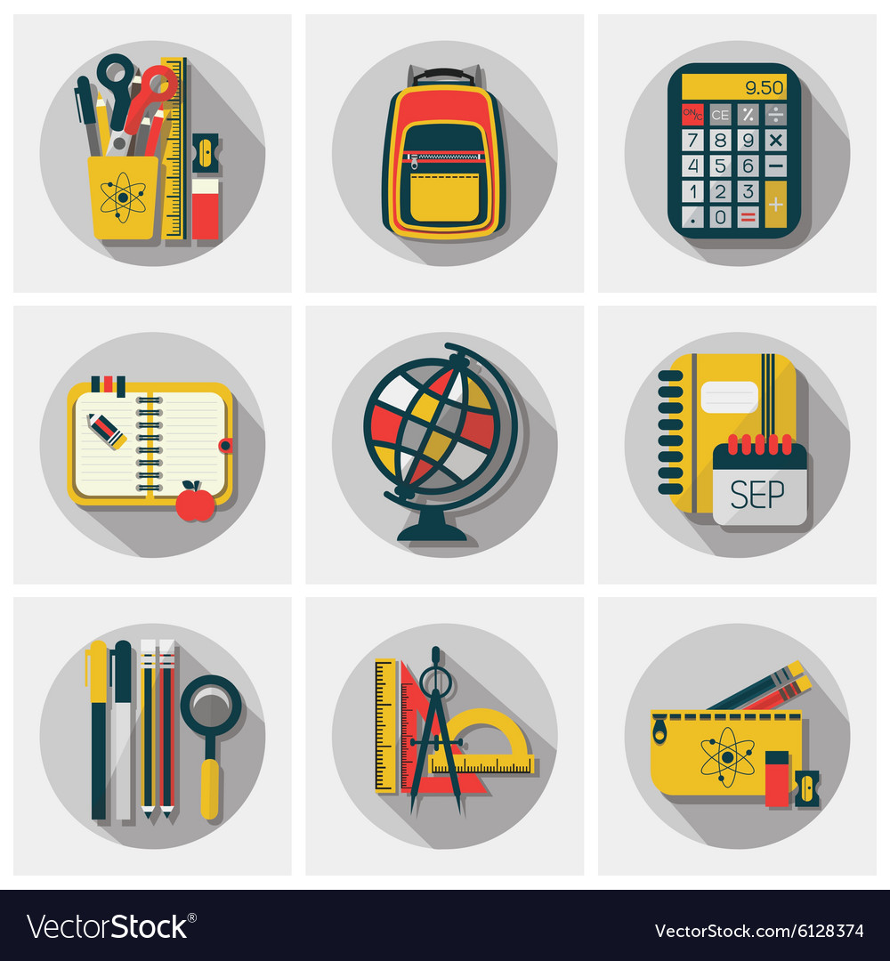 School stickers icons set with long shadow vector image