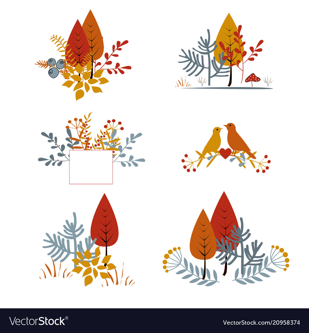 Set of autumnal floral cards with abstract leaves