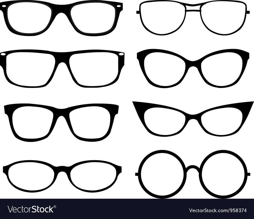 set of eyeglasses royalty free vector image vectorstock