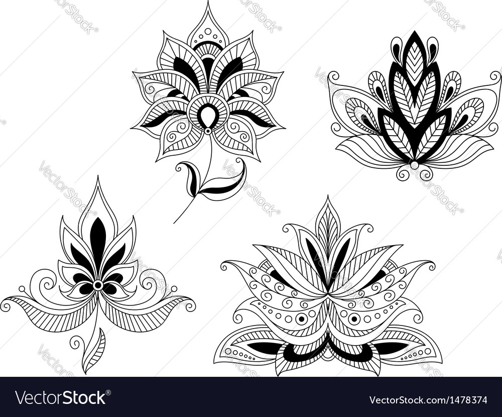 Set of indian and persian flower blossoms vector image