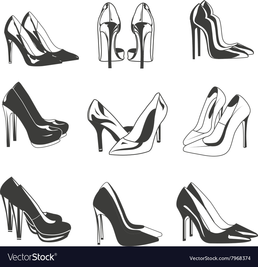 Set of woman shoes on heels Fashion