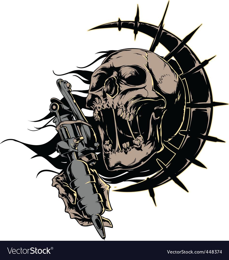 Skull with tattoo machine logo vector