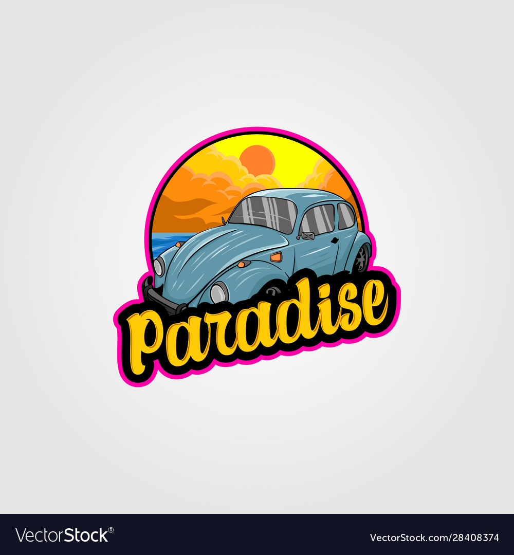 Vintage car logo for summer vacation on the