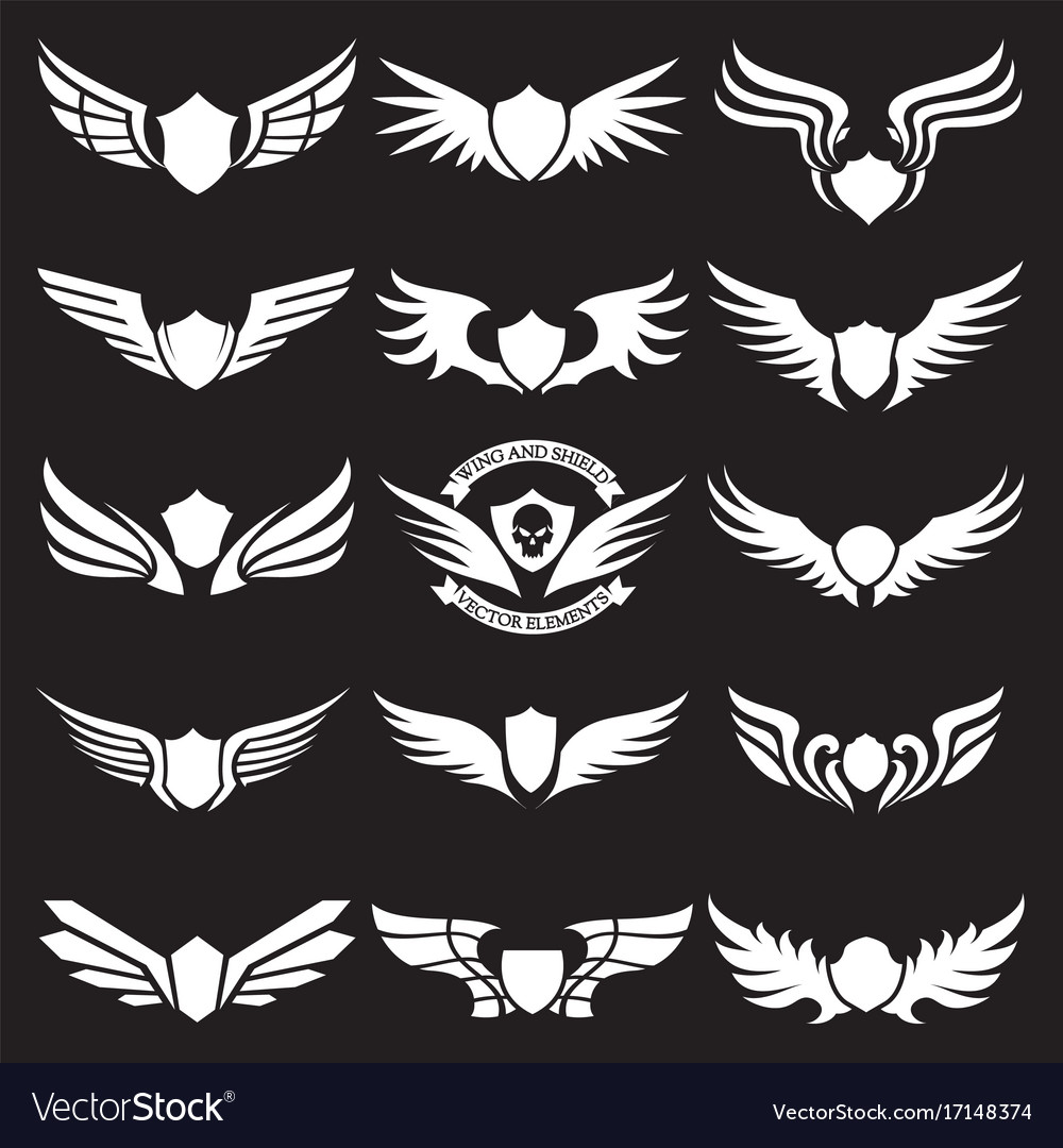 Wings set of design elements design for icon vector image