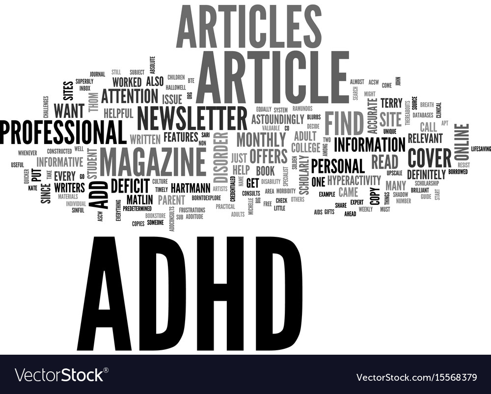 Adhd article help guide text word cloud concept vector image