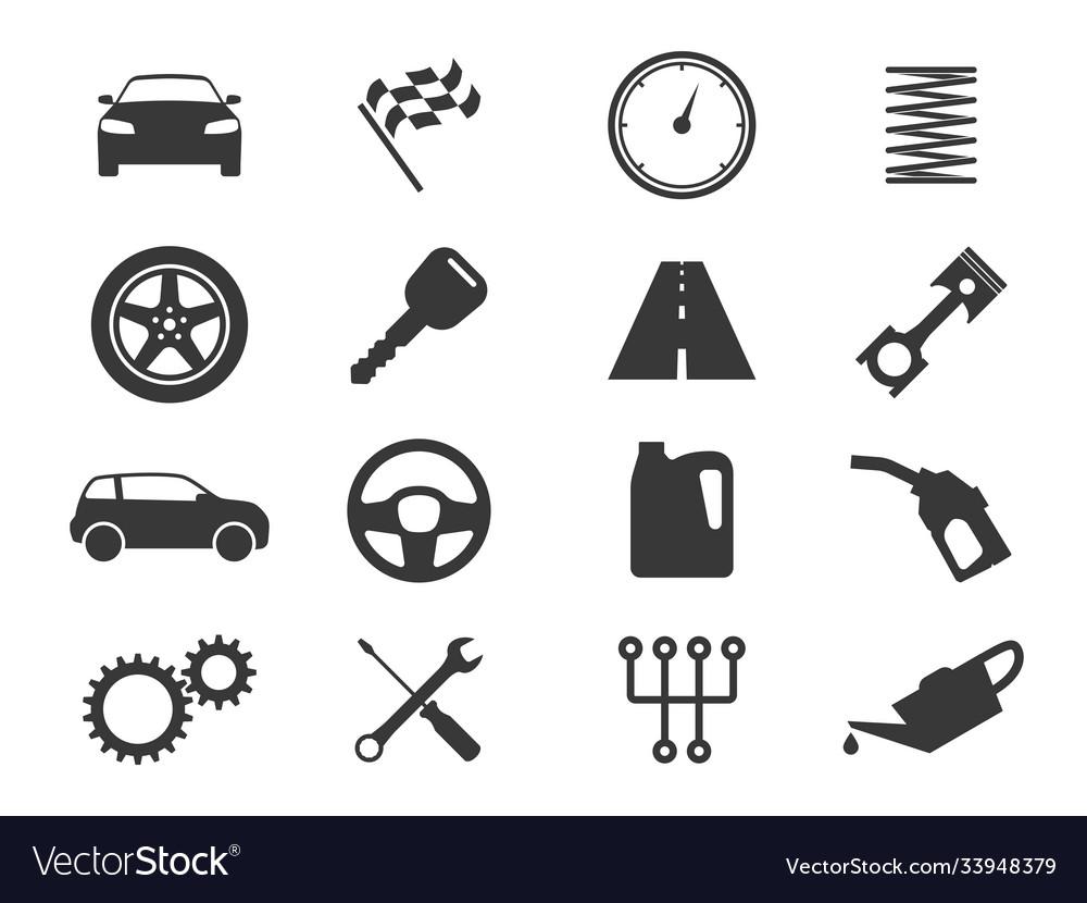 Auto icons black vehicle silhouettes