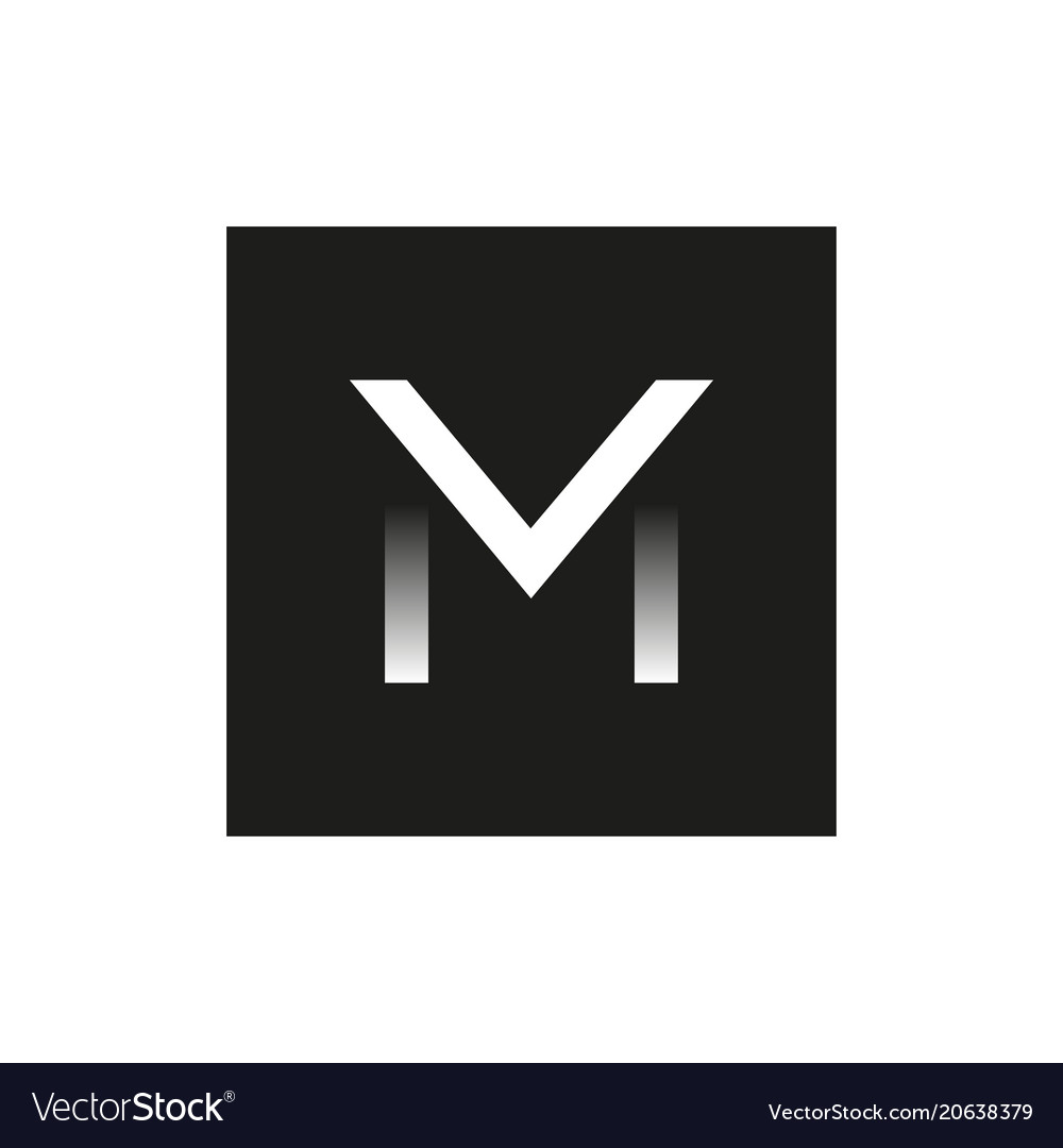 Black logo the letter m in the square