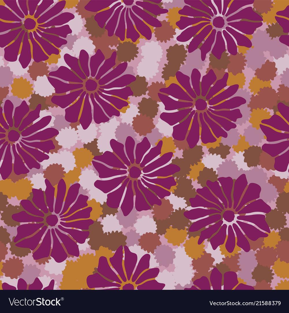 Bold Vintage Floral Purple And Orange 70s Vector Image