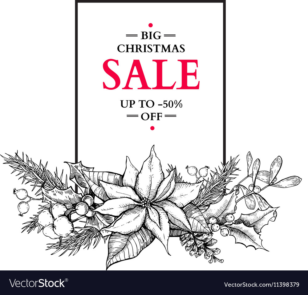 Christmas sale banner with garland hand