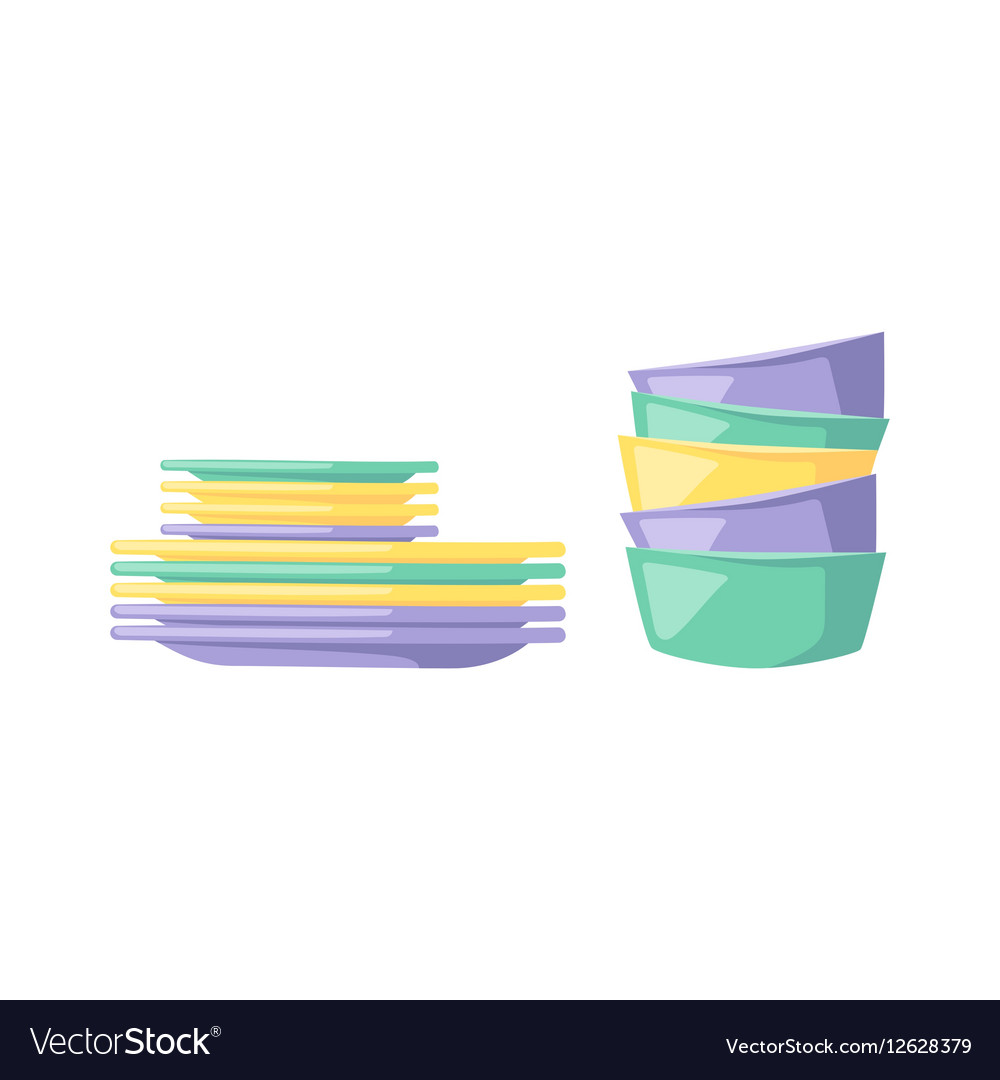 Clean dishware vector image