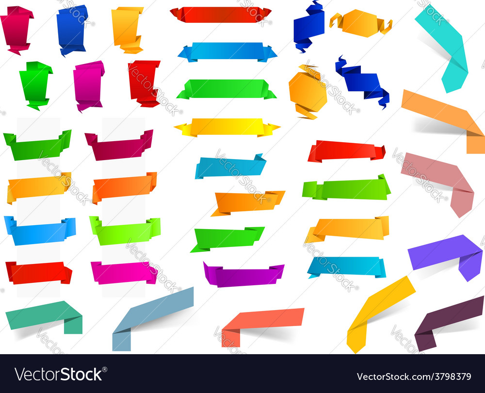 Colorful blank origami ribbons and banners vector image