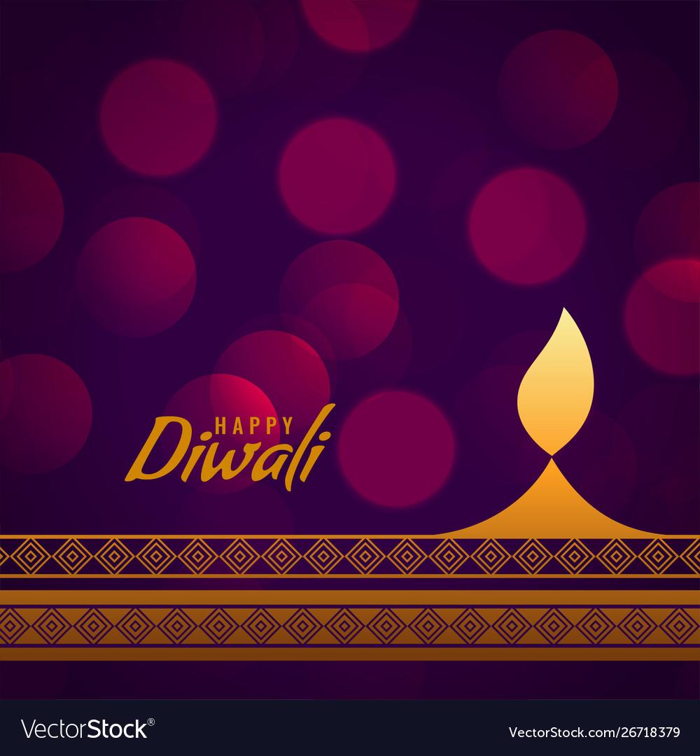 Creative happy diwali golden diya decorative Vector Image