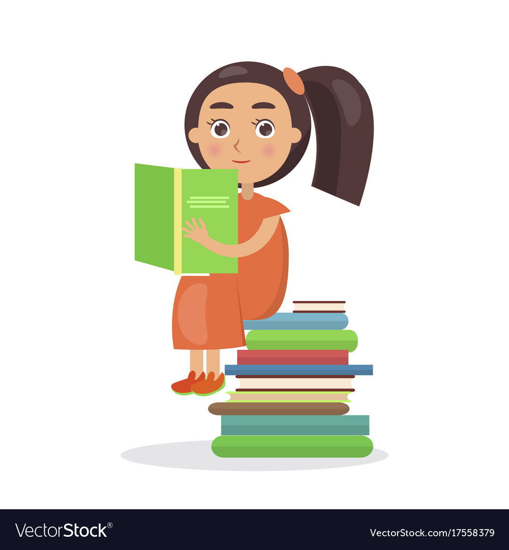 Girl in orange dress with open textbook