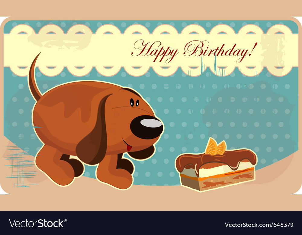 Greeting card with a funny dog and cake in vintage vector image