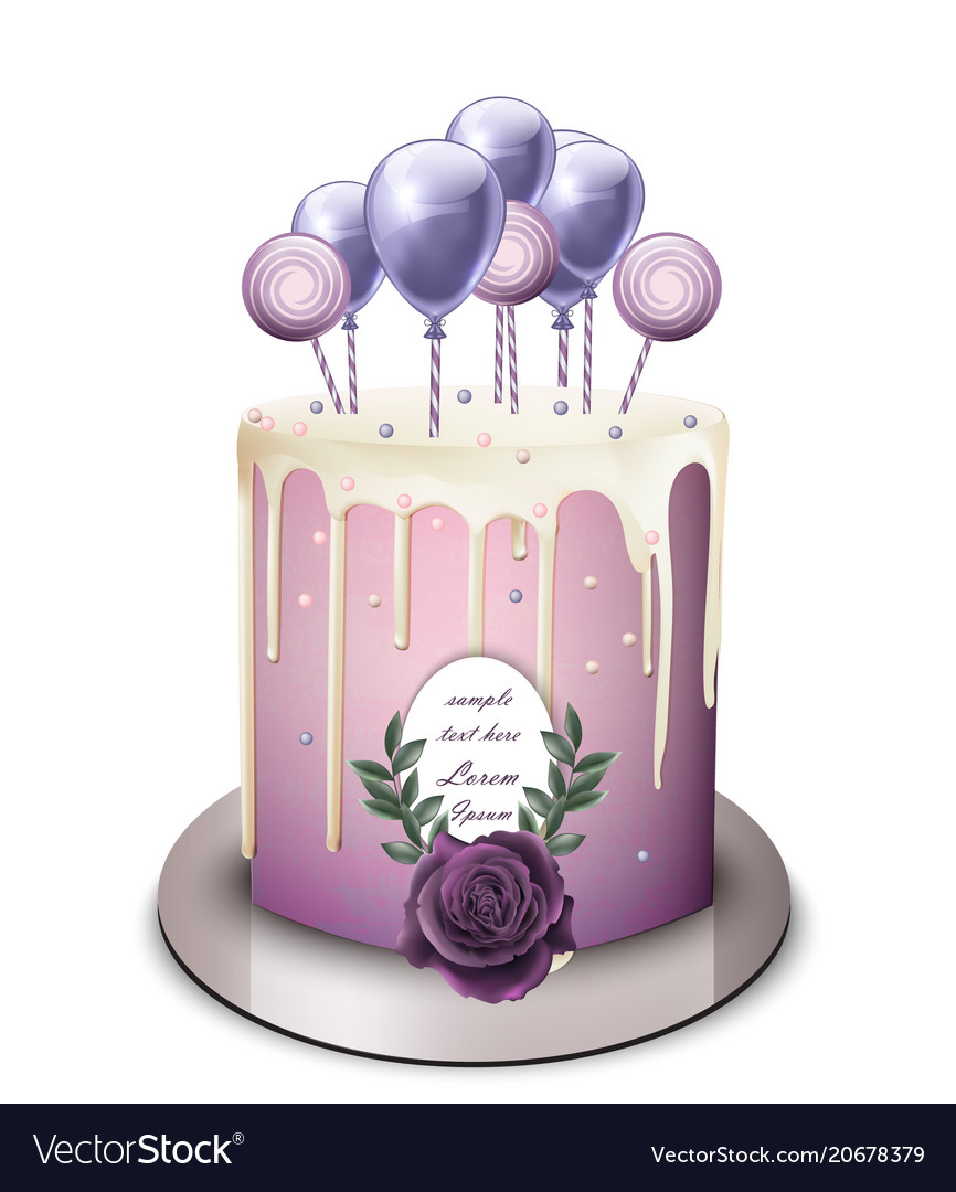 Lavender Cake Realistic White Chocolate Royalty Free Vector