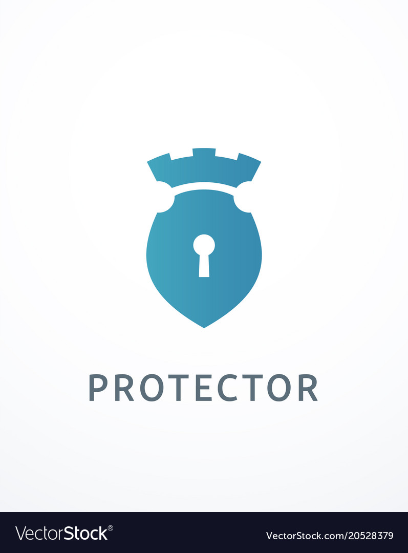 Lock and castle logo vector image