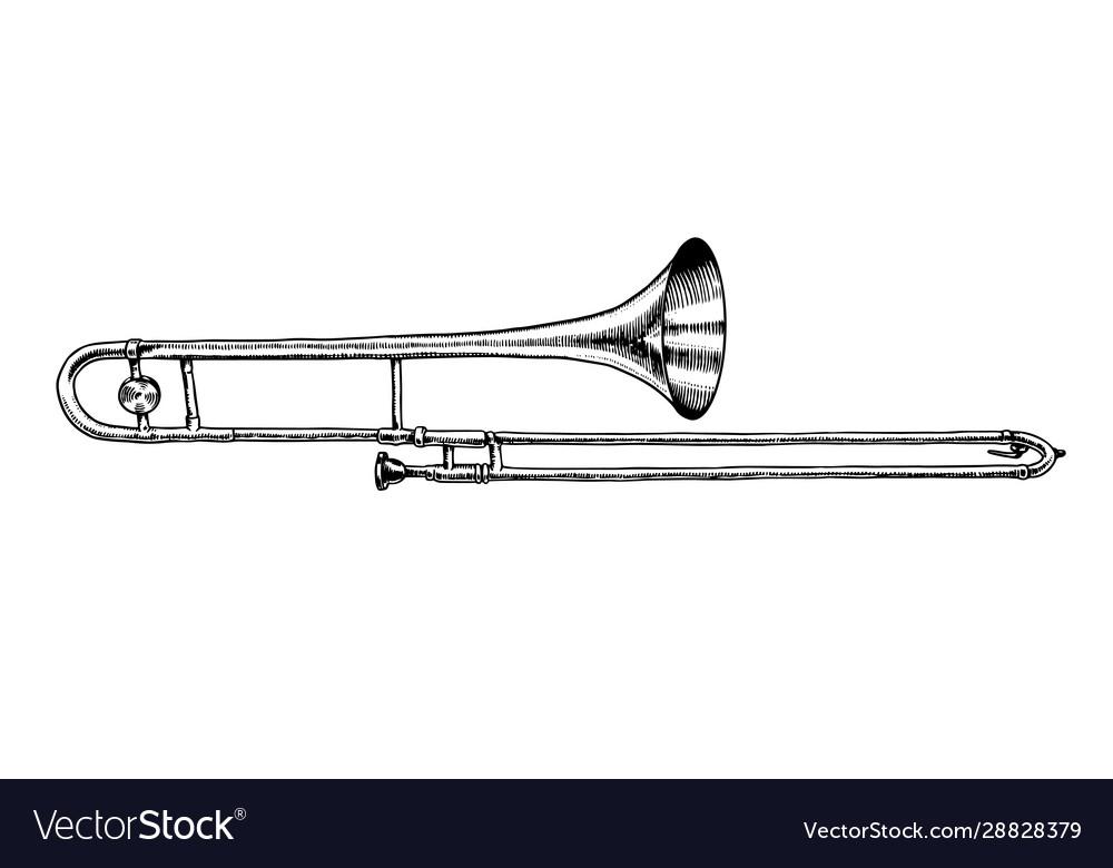 Musical wind jazz instrument trombone