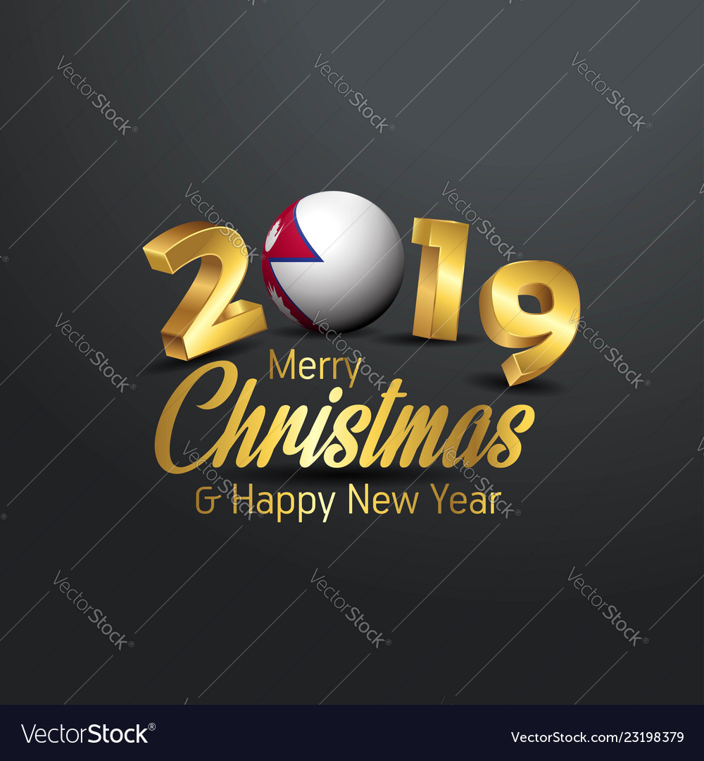 Nepal Flag 2019 Merry Christmas Typography New Vector Image