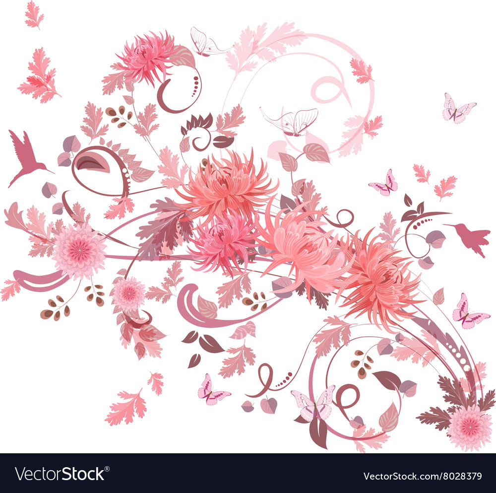 Pink swirl of flowers for your design vector image